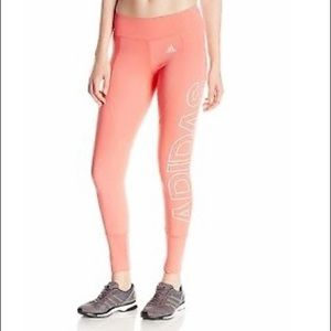 Adidas Branded Woman's Coral Pink Tight Leggings